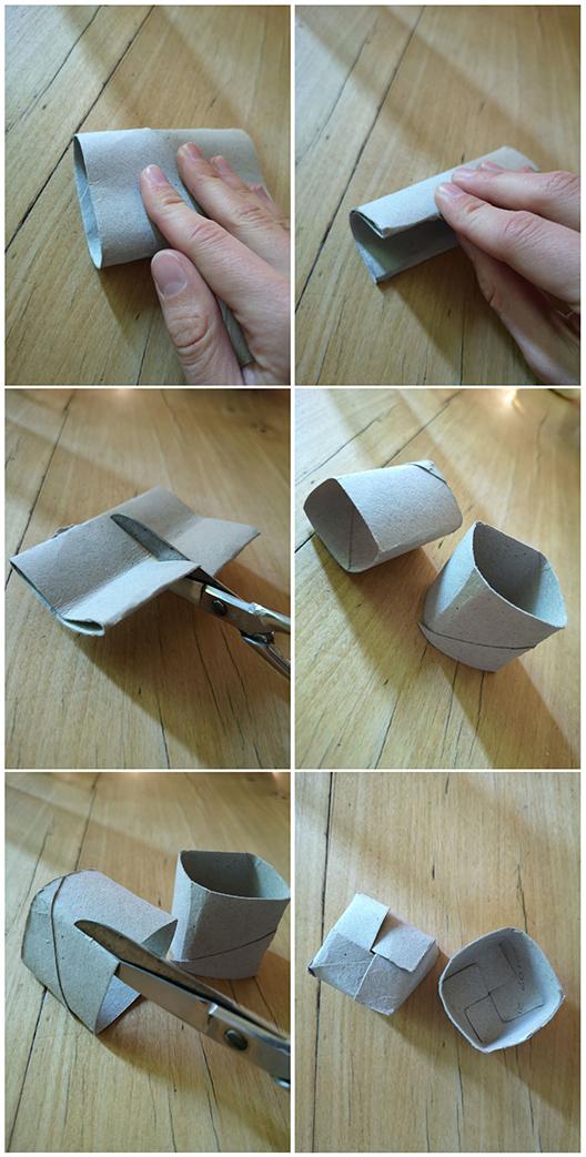 Die Anleitung von Anzuchtgefäßen aus Klopapierrollen: man faltet die Rolle zwei Mal, so dass sie einen quadratischen Grundriss bekommt und schneidet anschließend an den unteren Kanten 2cm ein, um einen Boden zu falten.