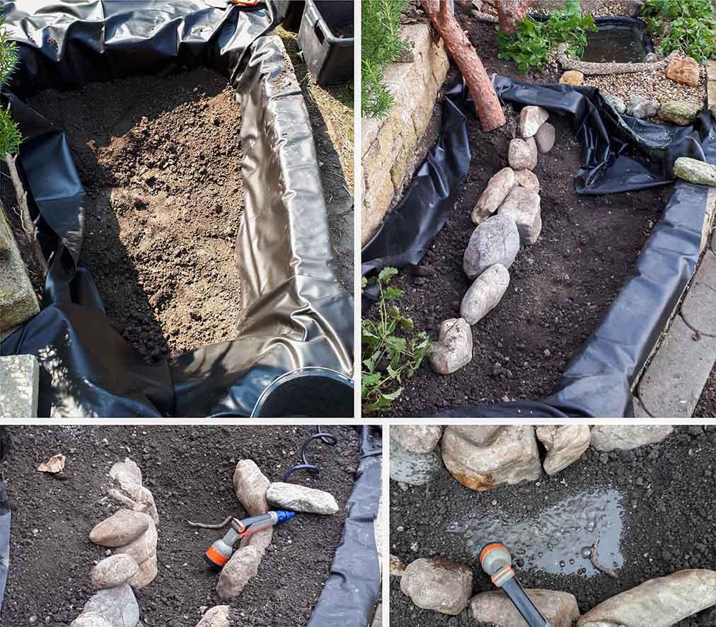 Collage - Die Schritte zum Sumpfbeet
