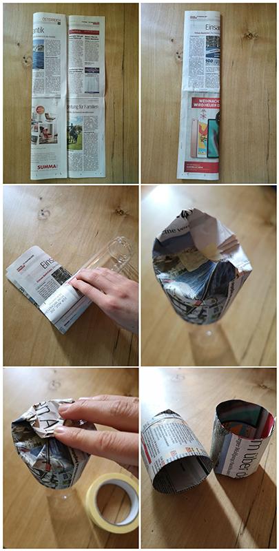 Anleitung für Anzuchttöpfchen aus Zeitungspapier: Das Zeitungspapier mithilfe einer Flasche zu einem Zylinder rollen. Anschließend die untere Kante umklappen und den so entstandenen Boden mit Tixo fixieren.