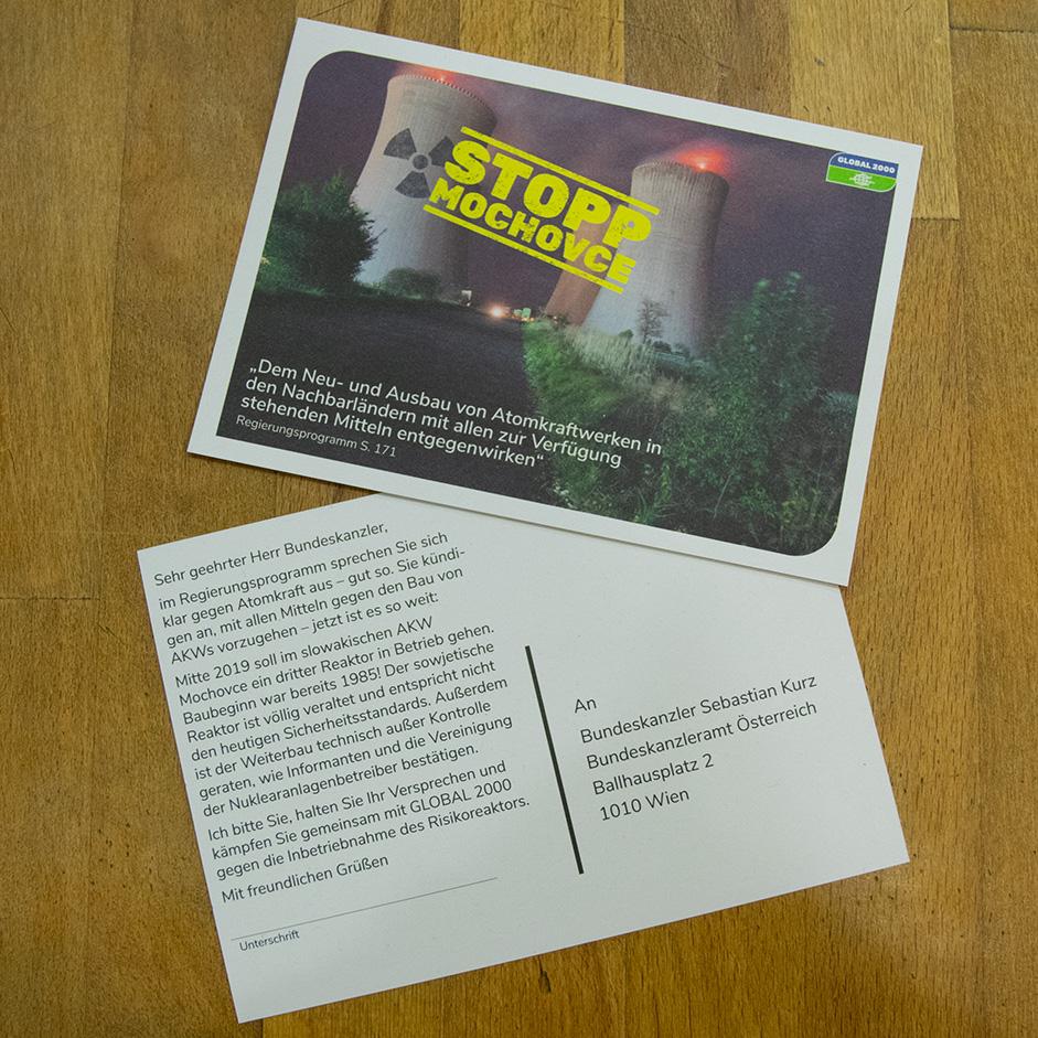 Protestpostkarte Mochovce