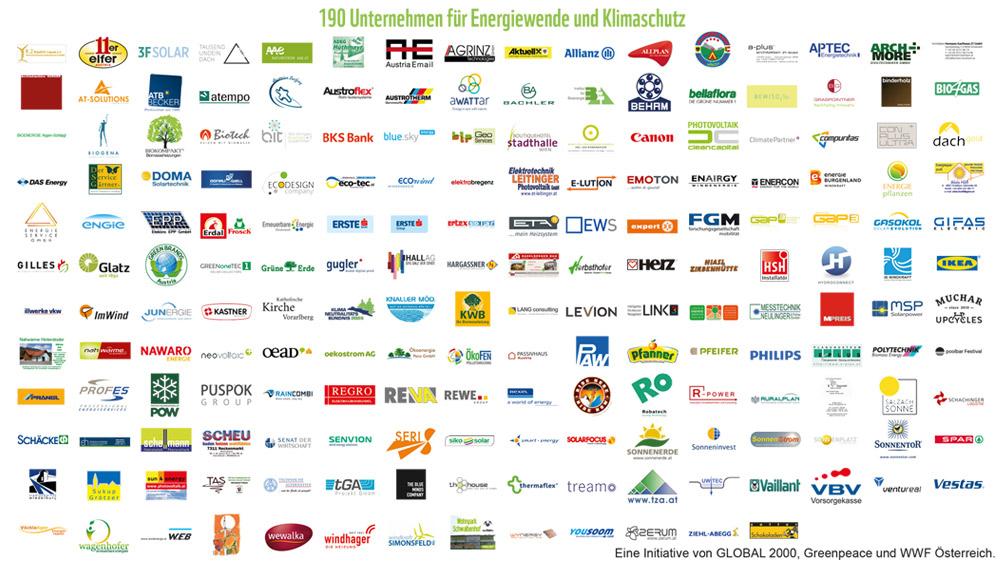 Unternehmen die den Appell der Wirtschaft für mehr Klimaschutz unterstützen