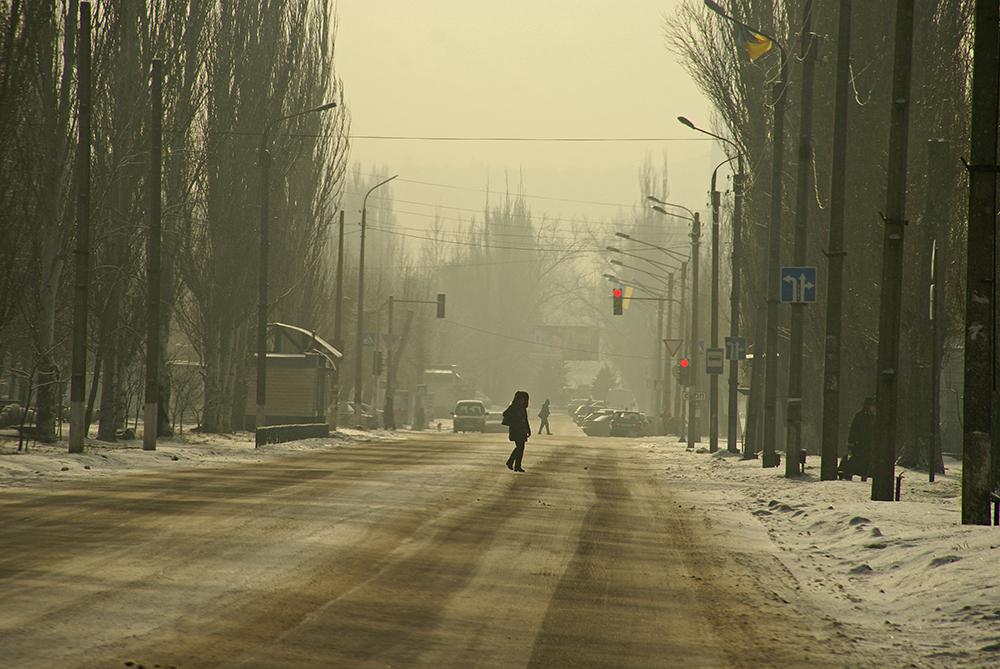 Stimmungsbild winterliche Straße in Severodonetsk