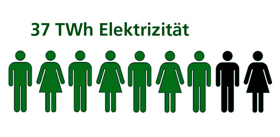 Grafik: 7 von 9 BürgerInnen können 37 TWh Elektrizität produzieren