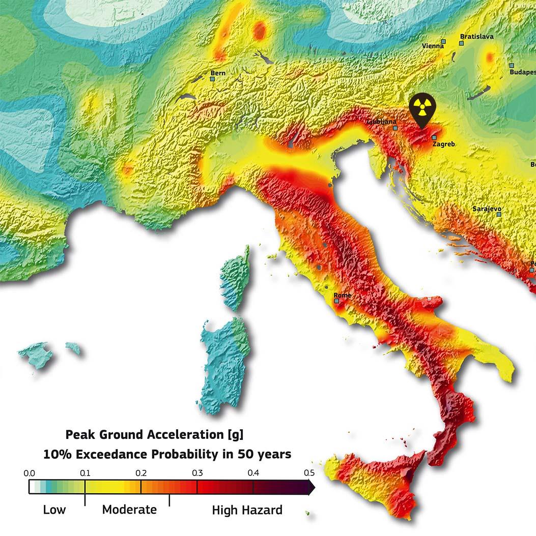Karte mit Erdbebengebiet in Europa rund um das AKW Krsko
