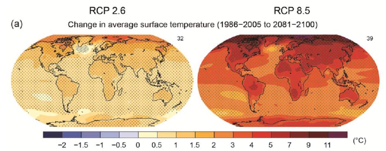 Erwärmungsszenarien mit und ohne Klimaschutz bis Ende des Jahrhunderts.