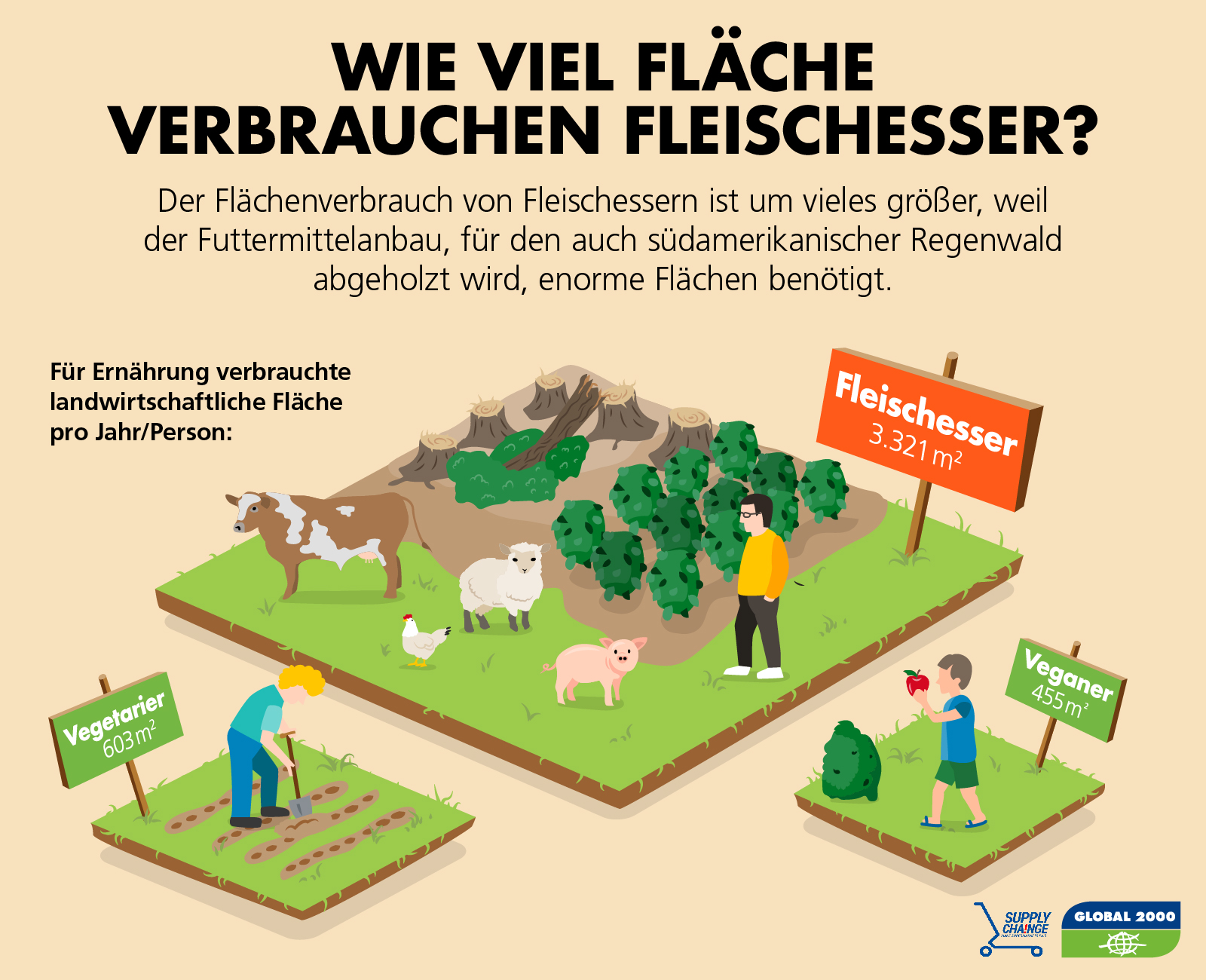 Flächenverbrauch von Fleischessern vs. Vegetariern vs. Veganern