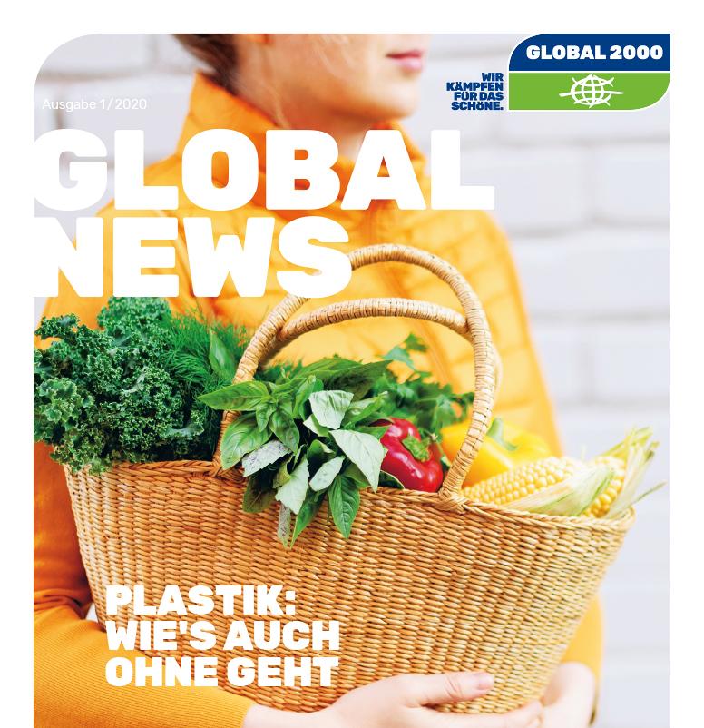 GLOBAL NEWS Cover, Einkaufskorb mit Frau