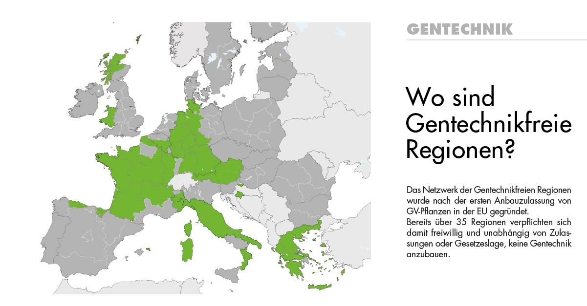 Karte mit gentechnikfreien Regionen