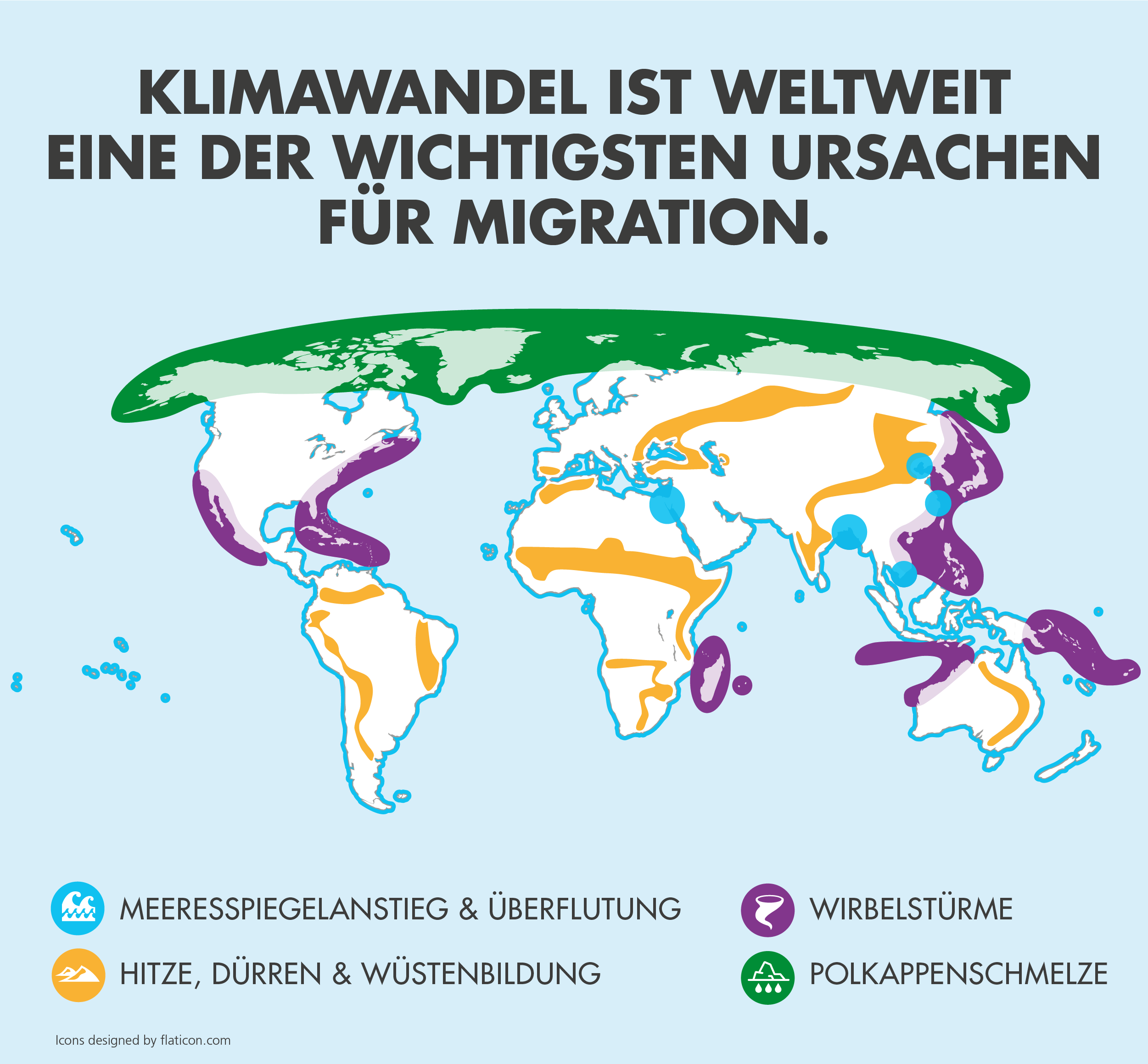 Von Klimamigration betroffene Gebiete