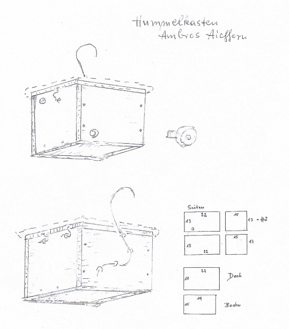 Skizze der Hummelkiste von Ambros Aichhorn