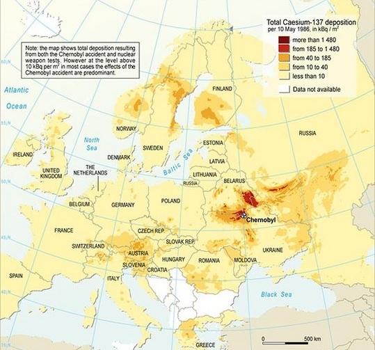 Radioaktive Belastung mit Tschernobyl Katastrophe mit Cäsium-137