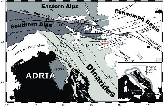 Eine vereinfachte tektonische Karte der Kollisionszone Adria-Alpen, in der Krško markiert ist.