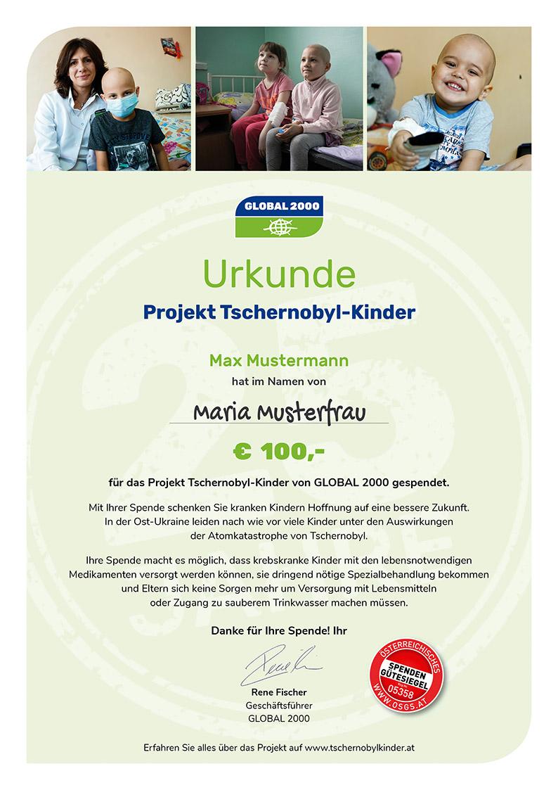 GLOBAL 2000 Spendenurkunde