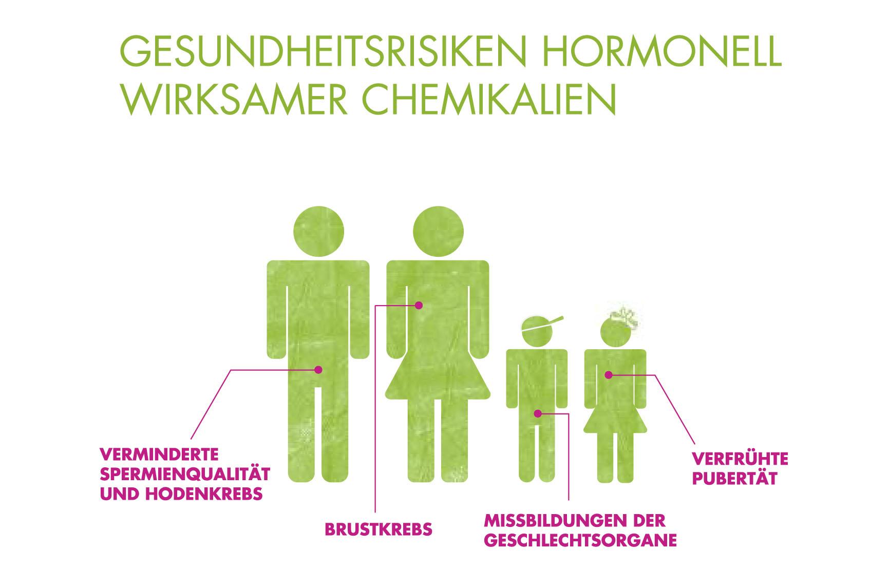 Auswirkungen von hormonell wirksamen Chemikalien, Grafik: BUND/i-gelb