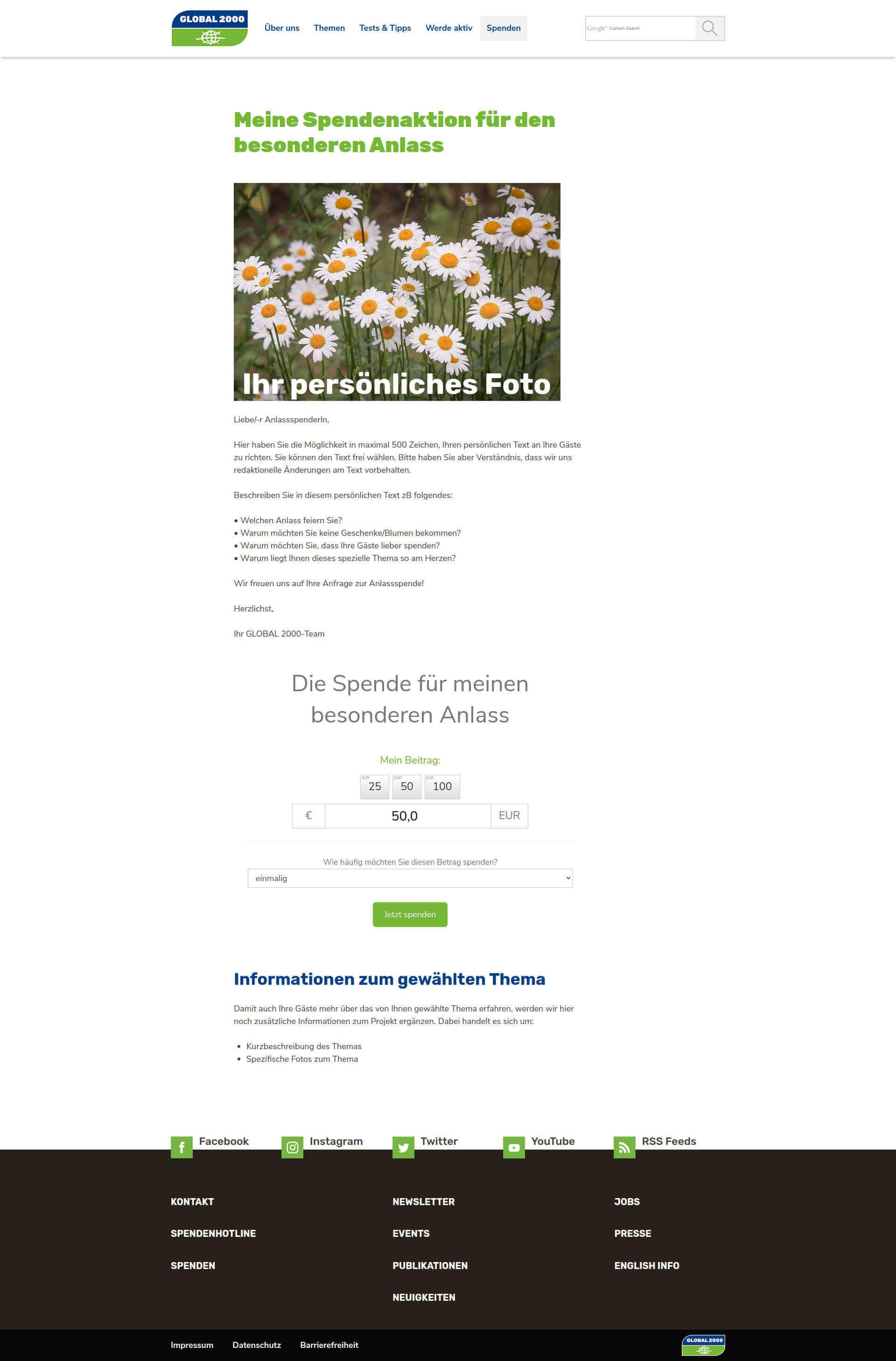 Beispiel Spendenaktionsseite