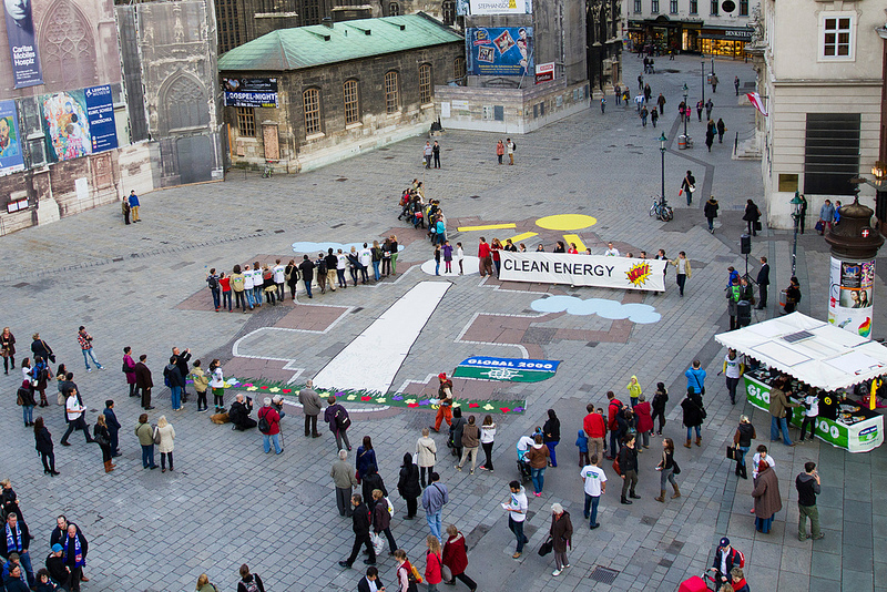 Lebendiges Windrad am Stephansplatz, Foto: Brigitte Baldrian